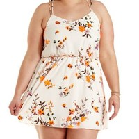 Plus Size Ivory Combo Strappy Floral Print Dress by Charlotte Russe