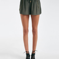 Cuffed Zipper Challis Shorts | Wet Seal