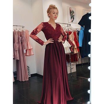 Long Prom Dress with Sleeves , Dance Dresses, Graduation School Party Gown, DT0232