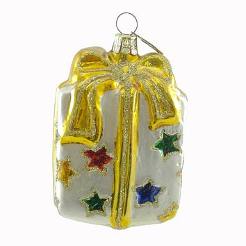 Holiday Ornament PACKAGE WITH STARS Blown Glass Christmas Gift Z9928