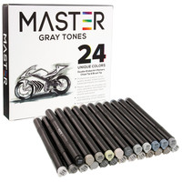 24 Color Master Markers Gray Tones Dual Tip Set - Double-Ended Grayscale Art Markers with Chisel Point and Standard Brush Tip - Soft Grip Barrels - Draw Sketch Shade Illustrate Render