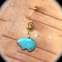 Bear Turquoise Belly Button Ring, 14 Gauge Stainless Steel, Jewelry Navel Ring Turquoise Stone Native Zuni American Indian Tribal Piercing