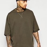 ASOS Oversized T-Shirt With Half Sleeves And Step Hem In Khaki