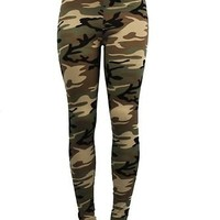 HIGH WAIST Army Commando Military Camouflage Stretch Skinny Tight Legging Pant