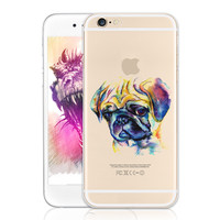 Watercolor Animal Pug Pattern Soft Phone Case Cover