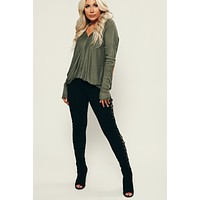 Spencer Surplice Top (Army Green)