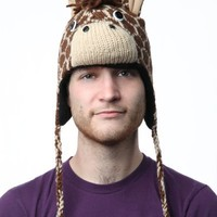 DeLux Giraffe Brown Wool Pilot Animal Cap/Hat - Limited Edition