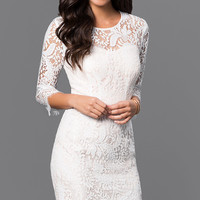 Lace Party Dress with Three Quarter Sleeves