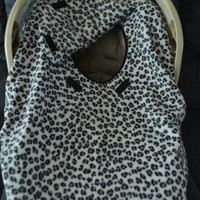Infant Car Seat Carrier Covers Snow Leopard Black and White Fleece