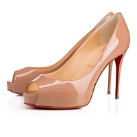Cl Christian Louboutin New Very Prive Nude Patent Leather Platforms 3170637pk1a