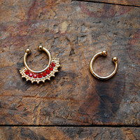 Tribal Ruby Faux Septum Piercing , Gold Clip On Septum Ring