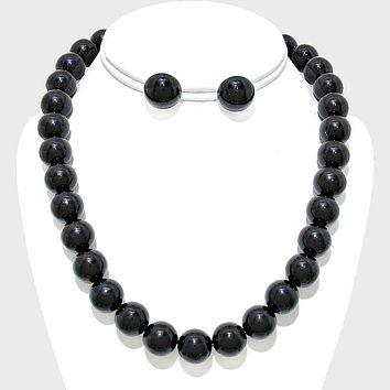 """16"""" black faux pearl strand layered necklace earrings 12mm"""