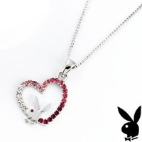 Playboy Necklace Pink Swarovski Crystals Open Heart Pendant Iconic Bunny Logo Platinum Plated Official Genuine Authentic Licensed Jewelry Jewellery