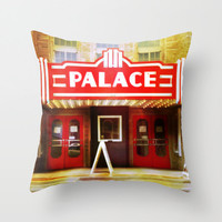 Pillow Cover - The Palace, theater, movie, cinema, marquee, sign, film, actor, red, yellow, drama, Broadway, play, city, 16x16, 18x18, 20x20