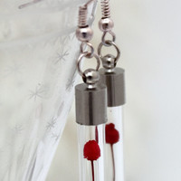 Miniature dried red rose glass vial earrings- mini flower vial- Red Christmas jewelry