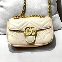GUCCI new casual classic rhombic wave pattern chain square bag shoulder Messenger bag