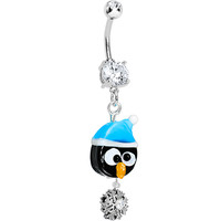 Handcrafted CZ Kooky Christmas Penguin Snowflake Dangle Belly Ring | Body Candy Body Jewelry