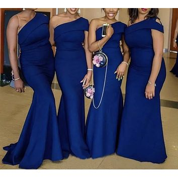 Mermaid One Shoulder Bridesmaid Dress