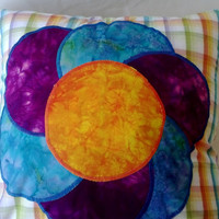 Large Bright Flower Pillow Cover 14 X 14 Purple, Blue, Orange Applique Upcycled Women's Shirt