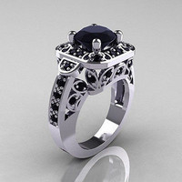 AMAZING 2.60CT BLACK ROUND STUD 925 STERLING SILVER ENGAGEMENT AND WEDDING RING