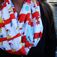 Dr. Suess Striped Red and White Infinity Scarf, Women's Fashion Neck Warmer-Cat in the Hat, Thing 1 Thing 2, Grinch, Horton, Lorax, Sam I Am