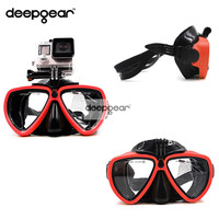 DEEPGEAR Newest Gopro Diving Mask Black silicone diving mask with XIAOMI SJCAM camera mount Adult diving mask to gopro diving