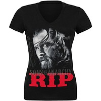 Sons of Anarchy - RIP Opie Photo Juniors V-Neck T-Shirt