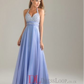 A-Line Halter Chiffon Lavender Long Prom Dress/Evening Gowns With Beading VTAU021581