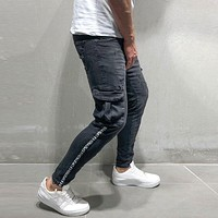 Casual Men Letter Print Pocket Design Skinny Jeans