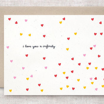 I Love You X Infinity - Cute Valentine Card - Petite Confetti Hearts, Red Pink Marigold Yellow
