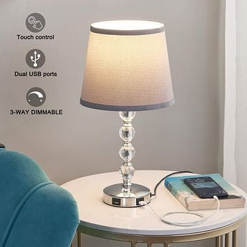 USB Touch Bedside Lamp, Kakanuo 3-Way Dimmable Nightstand Decorative Lamp with Dual Fast USB Charging Ports, K9 Crystal Table Lamp Set for Bedroom, Living Room, Study Room, Office (Bulb Included)