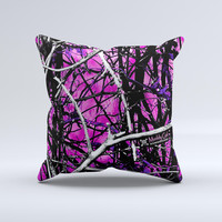 Hot Pink Abstract Real Camouflage Ink-Fuzed Decorative Throw Pillow