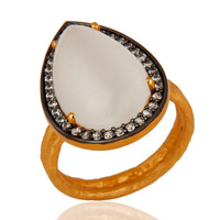 24K Gold Vermeil Sterling Silver White Moonstone Pear Hammered Cocktail Ring