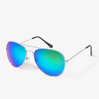 F6866 Iridescent Aviator Sunglasses