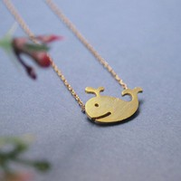 Whale charm Necklace in matte gold