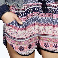 Laura Ethnic Print Contrast Trim Runner Shorts