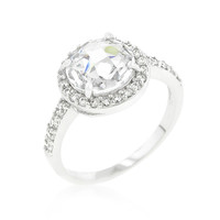 Halo Style Faceted Engagement Ring