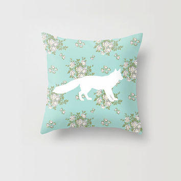 30% Off Spring Sale Throw Pillow Mint Floral Fox Decorative Pillow Cover Made to Order 16x16 18x18 2