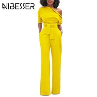 NIBESSER Jumpsuits Women Romper Overalls Sexy One Shoulder Jumpsuit Rompers 2017 Fall Elegant Female Solid Body Suits Z30