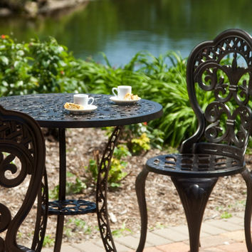 3-Piece Cast Aluminum Outdoor Bistro Set with Table and 2 Chairs