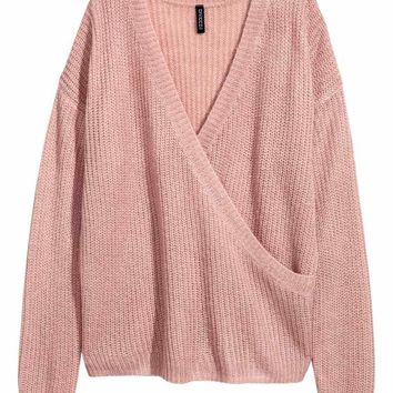 Knitted wrapover jumper