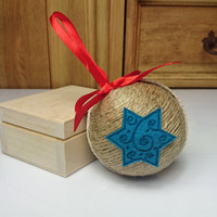Brown and turquoise blue christmas tree ornament linen cotton cord felt stars decoration natural rustic decor red satin ribbon cozy cottage