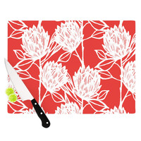 "Gill Eggleston ""Protea Strawberry White"" Red Flowers Cutting Board"