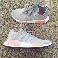 """Adidas"" NMD Women Men Fashion Trending Running Sports Shoes gery-pink"