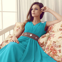 Elegant Sheath/Column V-neck Neckline Floor Length Prom Dress
