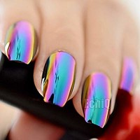 Super Holographic Blue Purple Coffin Nails Mirror Chrome Square Ladies Fake Nails Quality Tips for fingers Z905