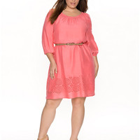 Full Figure Eyelet Peasant Dress by Lane Bryant | Lane Bryant