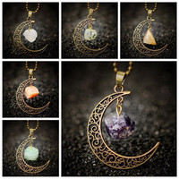 Vintage LOA Galaxy Moon Natural Stone Crystal Pendant Necklace