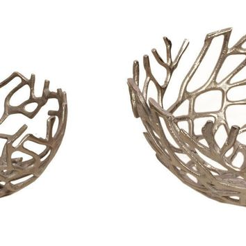 Branch Bowl Silver Set Of Two Aluminum