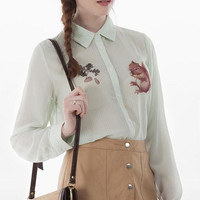 Stripe Squirrel Print Button Long-Sleeve Collared Shirt